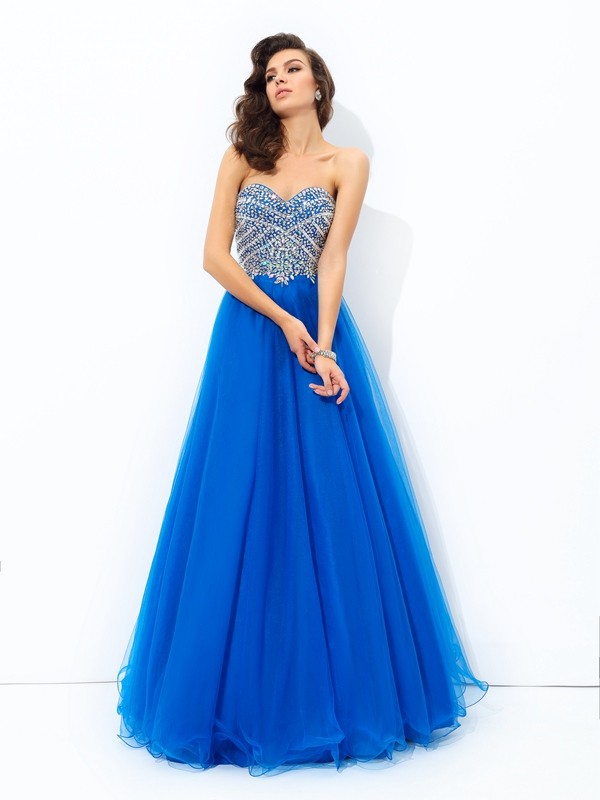Royal Blue A-Line Sweetheart Floor-Length Prom Dresses with Sequin
