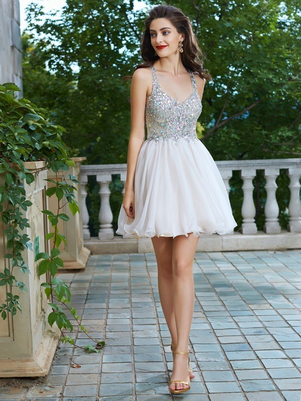 A-Line Straps Short/Mini Champagne Homecoming Dresses