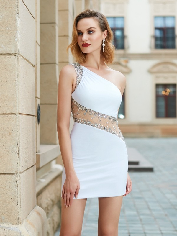 White Sheath One-Shoulder Short/Mini Homecoming Dresses with Beading