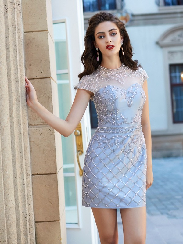 Sheath Satin Short Sleeves Jewel Short Silver Homecoming Dresses