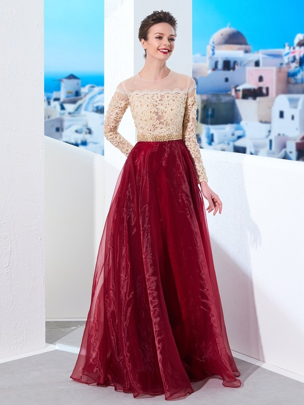 Organza Long Sleeves Sheer Neck Floor-Length Prom Dresses with Applique