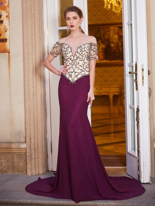Sheath Chiffon Short Sleeves Sheer Neck Court Train Burgundy Prom Dresses