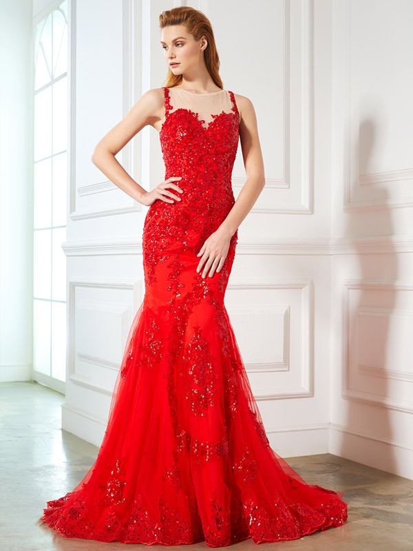 Mermaid Sheer Neck Brush Train Red Prom Dresses