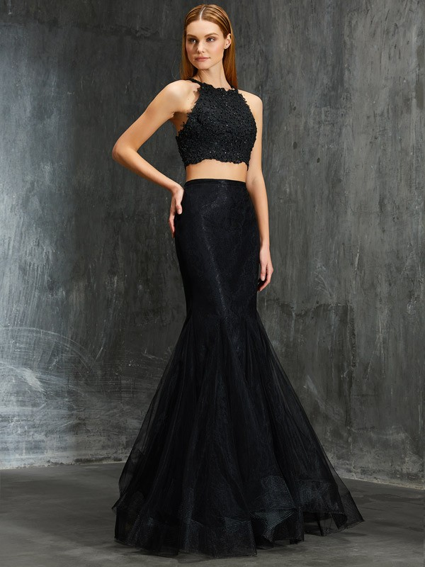Black Spaghetti Straps Net Floor-Length Prom Dresses