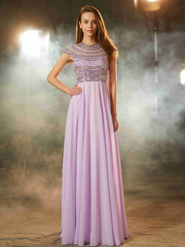 A-Line Scoop Floor-Length Lavender Prom Dresses with Beading