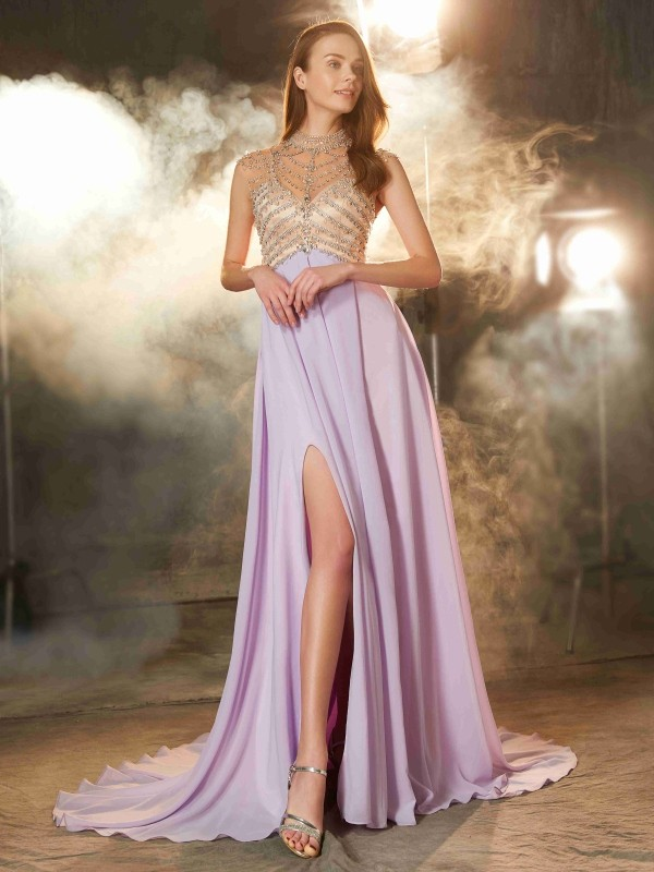 A-Line Chiffon High Neck Brush Train Lilac Prom Dresses