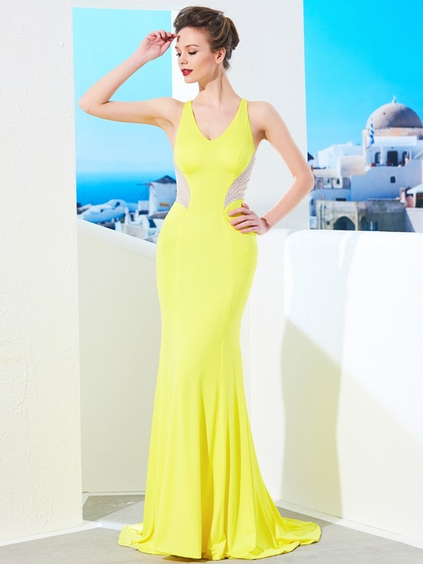 Spandex Mermaid Brush Train V-neck Yellow Prom Dresses