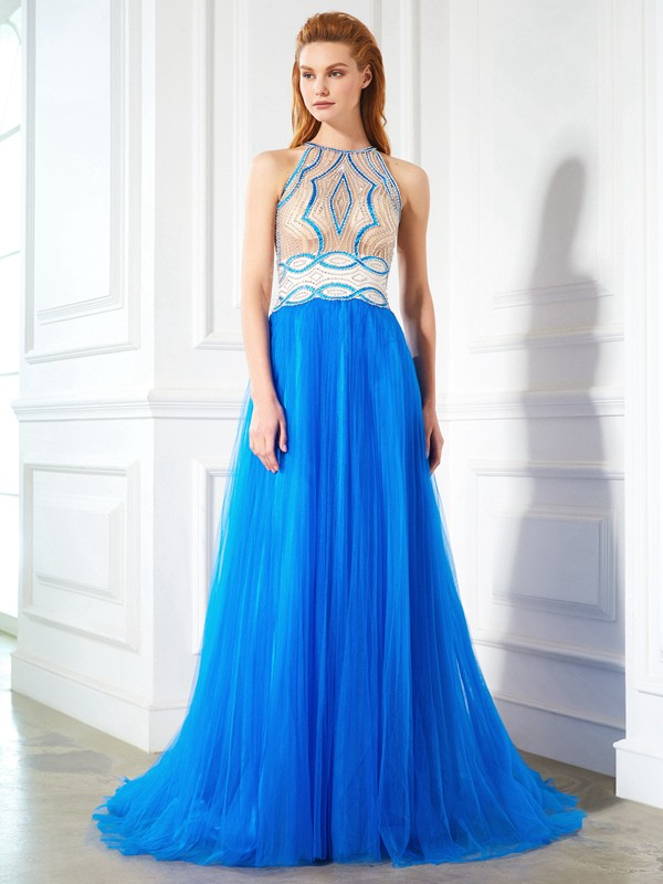 A-Line Net Jewel Floor-Length Prom Dresses with Beading