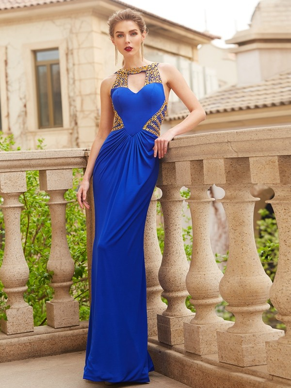 Sheath Scoop Floor-Length Royal Blue Prom Dresses with Beading