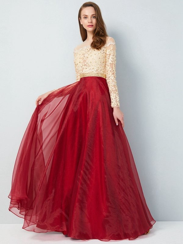 Organza Sheer Neck Floor-Length Burgundy Prom Dresses