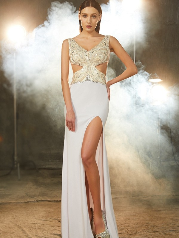 Sheath V-neck Floor-Length White Prom Dresses with Beading