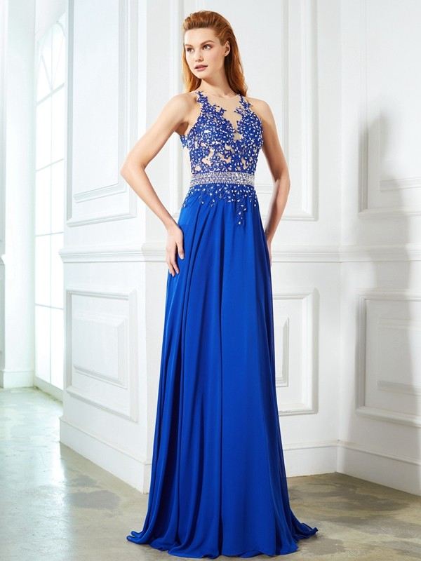 Royal Blue A-Line Sheer Neck Brush Train Prom Dresses with Applique