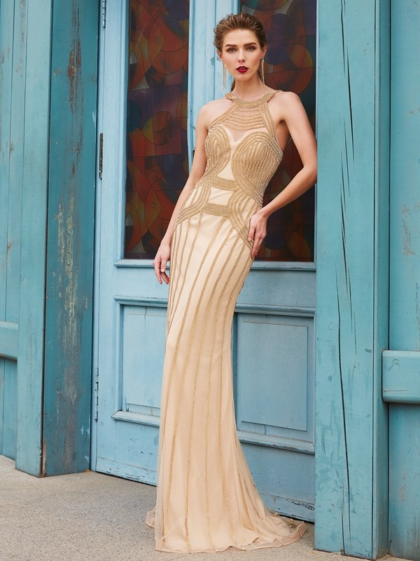 Net Sheath Brush Train High Neck Gold Prom Dresses