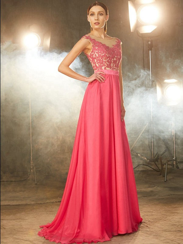 A-Line Chiffon Sheer Neck Brush Train Watermelon Prom Dresses