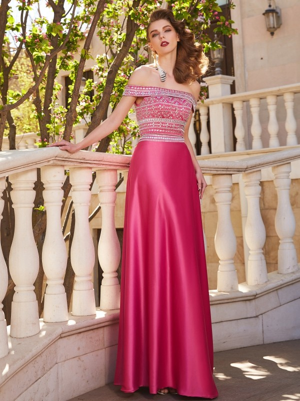 Satin A-Line Floor-Length Off-the-Shoulder Fuchsia Prom Dresses