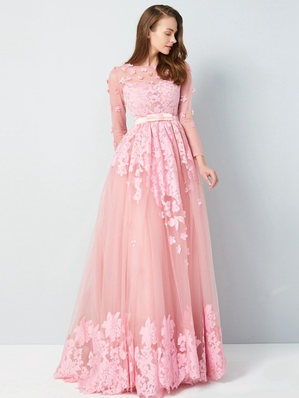 Pink A-Line Scoop Floor-Length Prom Dresses with Applique