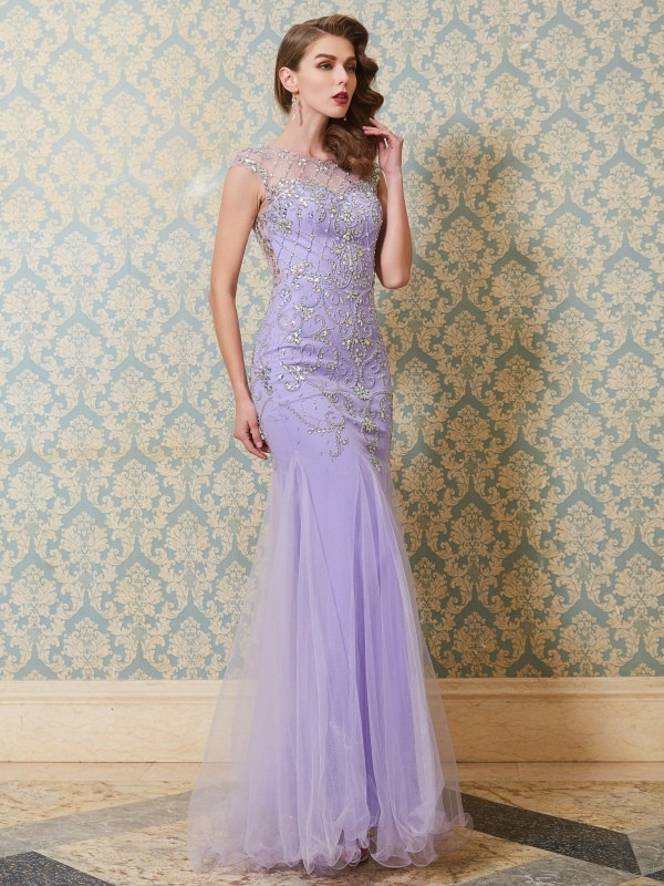 Tulle Mermaid Floor-Length Scoop Lavender Prom Dresses