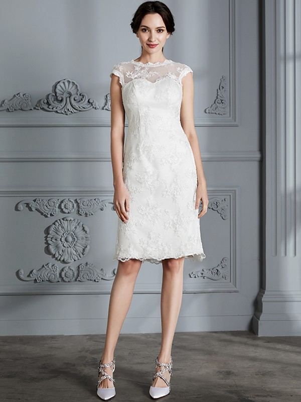 A-Line Scoop Knee-Length Ivory Wedding Dresses with Lace