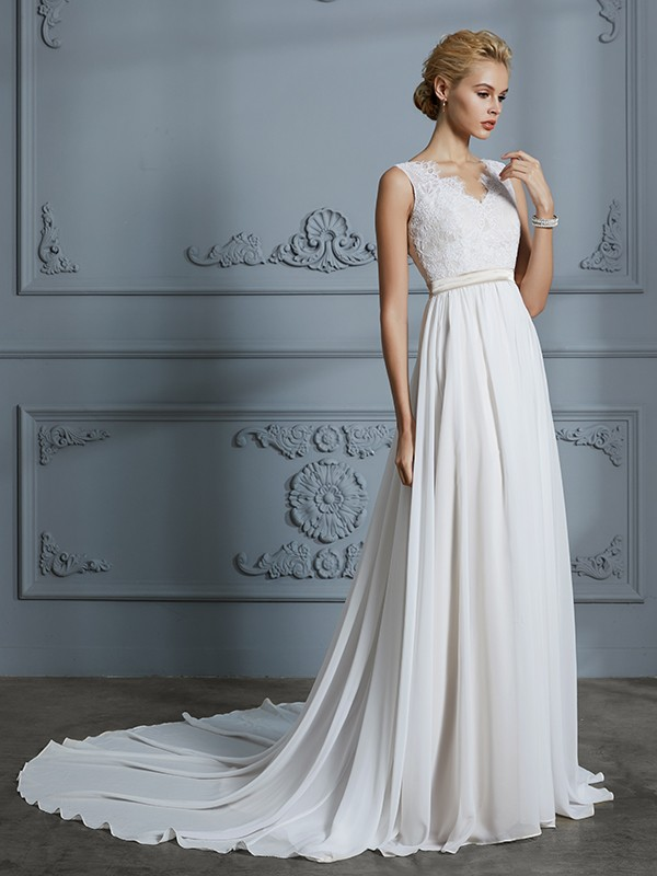 V-neck Court Train Ivory Wedding Dresses with Lace