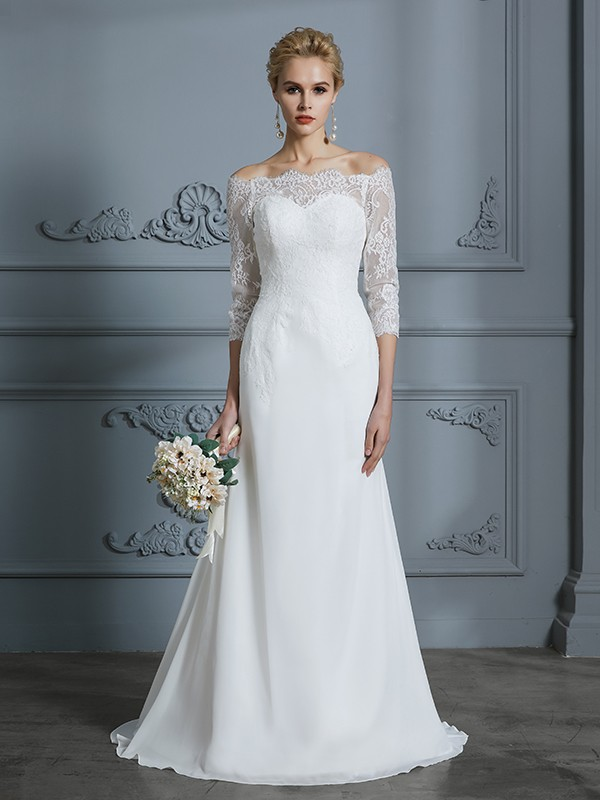 Mermaid Chiffon Half Sleeves Off-the-Shoulder Brush Train Ivory Wedding Dresses