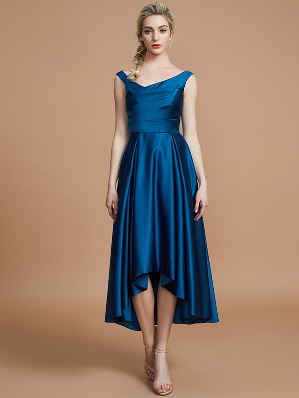Satin V-neck Asymmetrical Dark Navy Bridesmaid Dresses