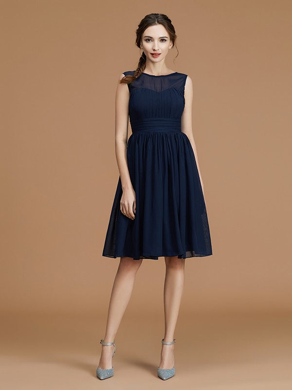 Chiffon Bateau Short/Mini Dark Navy Bridesmaid Dresses