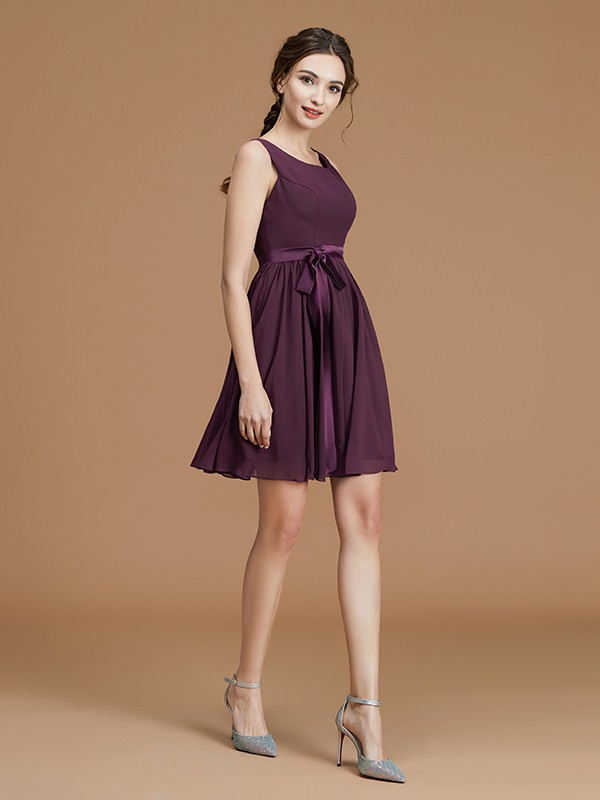A-Line Bateau Short/Mini Grape Bridesmaid Dresses