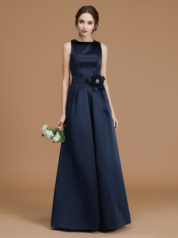 Satin A-Line Floor-Length Bateau Dark Navy Bridesmaid Dresses
