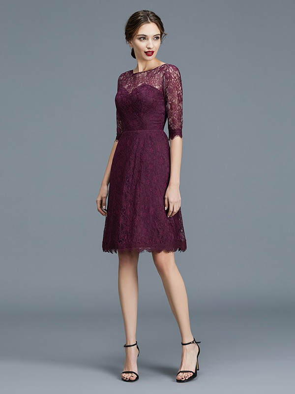 A-Line Half Sleeves Bateau Knee-Length Grape Bridesmaid Dresses