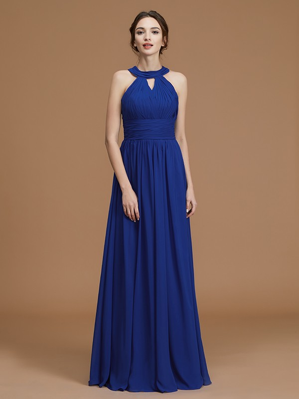A-Line Chiffon Halter Floor-Length Royal Blue Bridesmaid Dresses