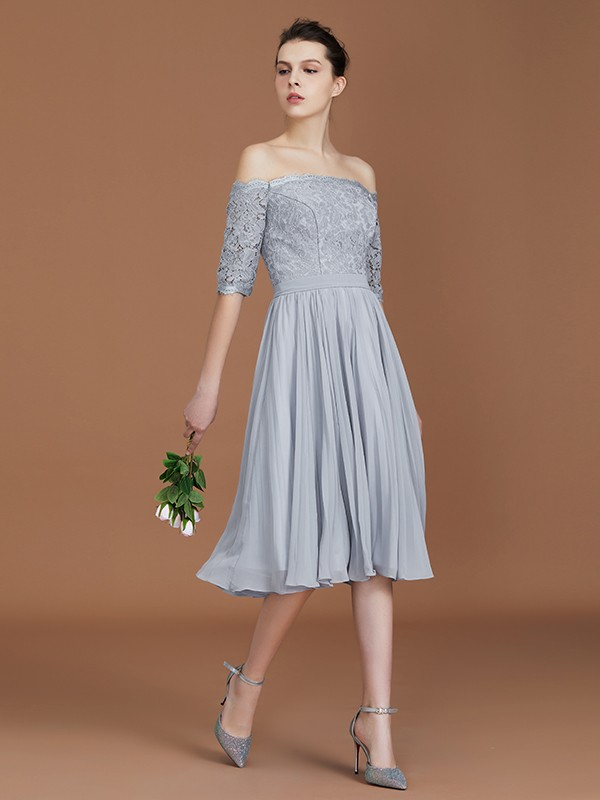 Chiffon Off-the-Shoulder Tea-Length Grey Bridesmaid Dresses