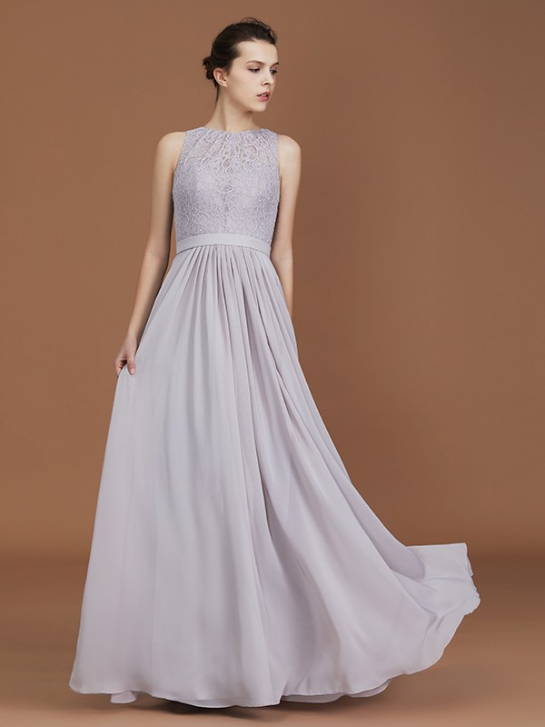 A-Line Floor-Length Grey Bridesmaid Dresses