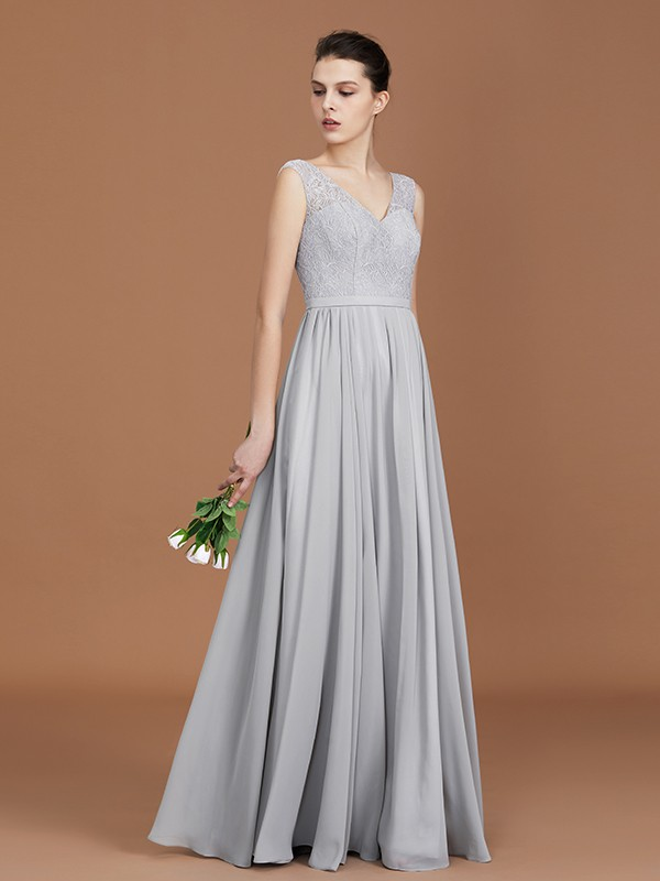 Grey V-neck Chiffon Floor-Length Bridesmaid Dresses