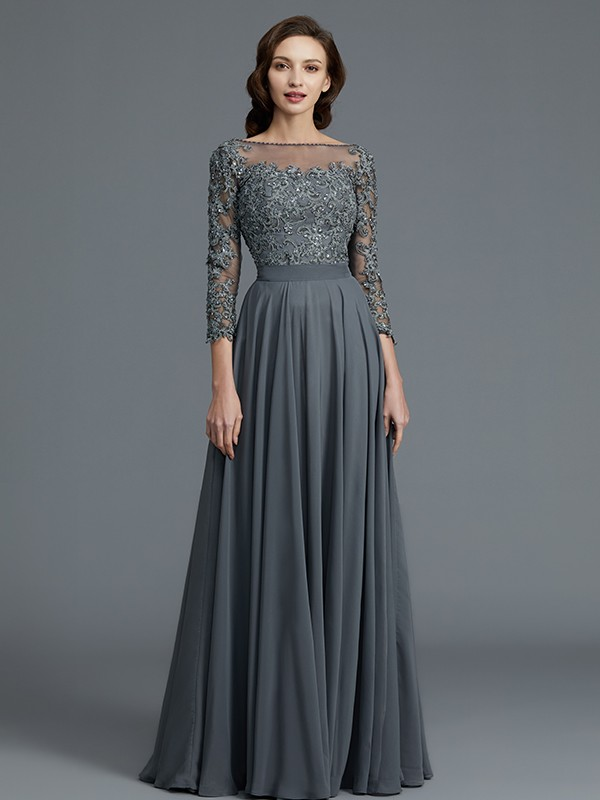 3/4 Sleeves Bateau Floor-Length Grey Mother of the Bride Dresses