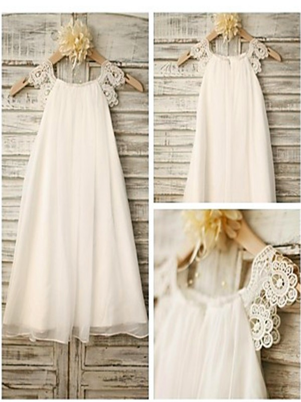 A-Line Chiffon Scoop Ankle-Length White Flower Girl Dresses