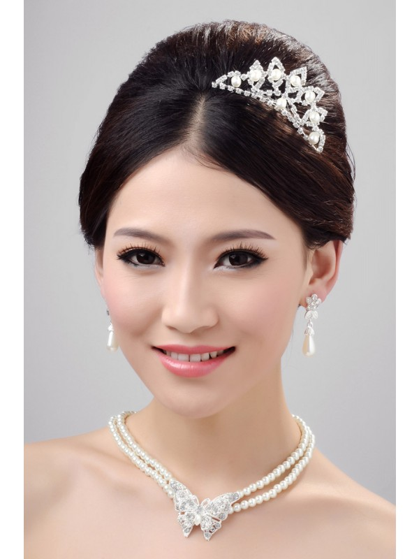 Elegant Alloy Clear Crystals Pearl Wedding Party Earrings Set