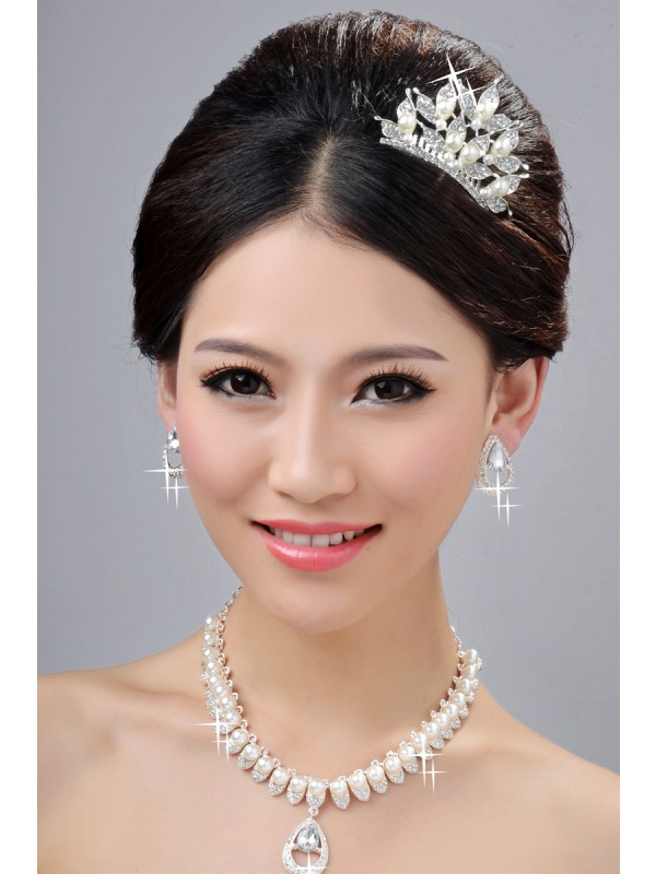 Elegant Alloy Clear Crystals Wedding Party Earrings Set