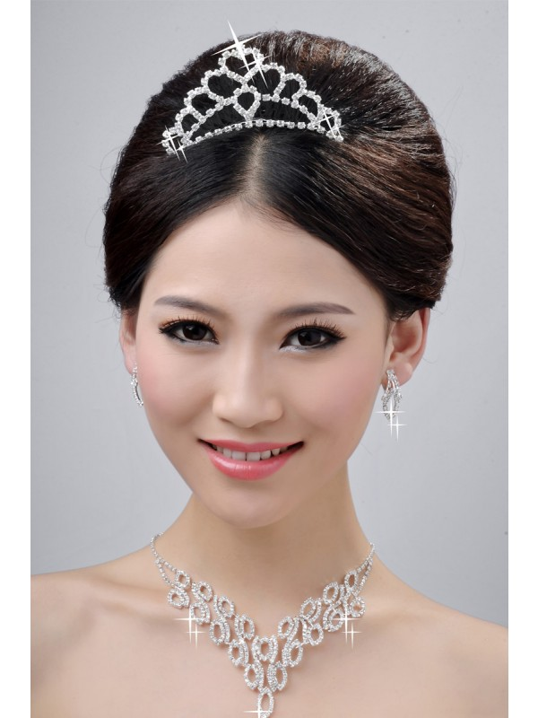 Fashionable Wedding Headpieces Necklaces Earrings Set