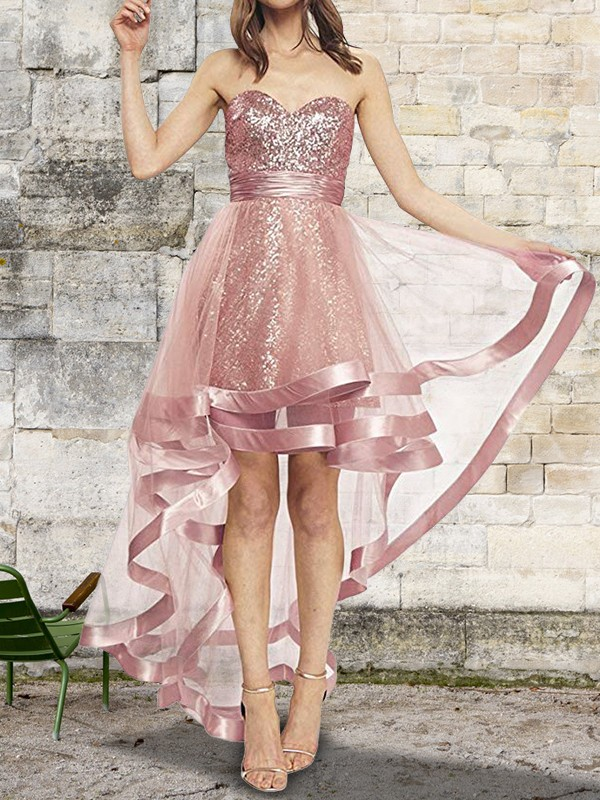 A-Line Sweetheart Pink Asymmetrical Sequin Organza Prom Dresses