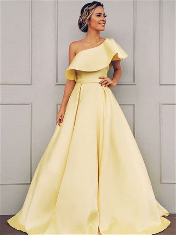 A-Line One-Shoulder Brush Train Daffodil Satin Prom Dresses