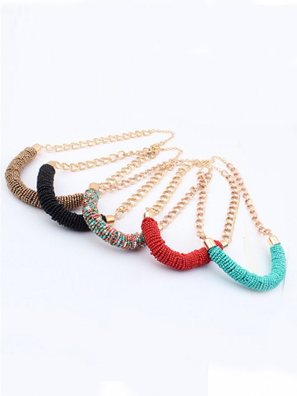 Occident Stylish Multicolor Seed Handwork Round Tube Hot Sale Necklace