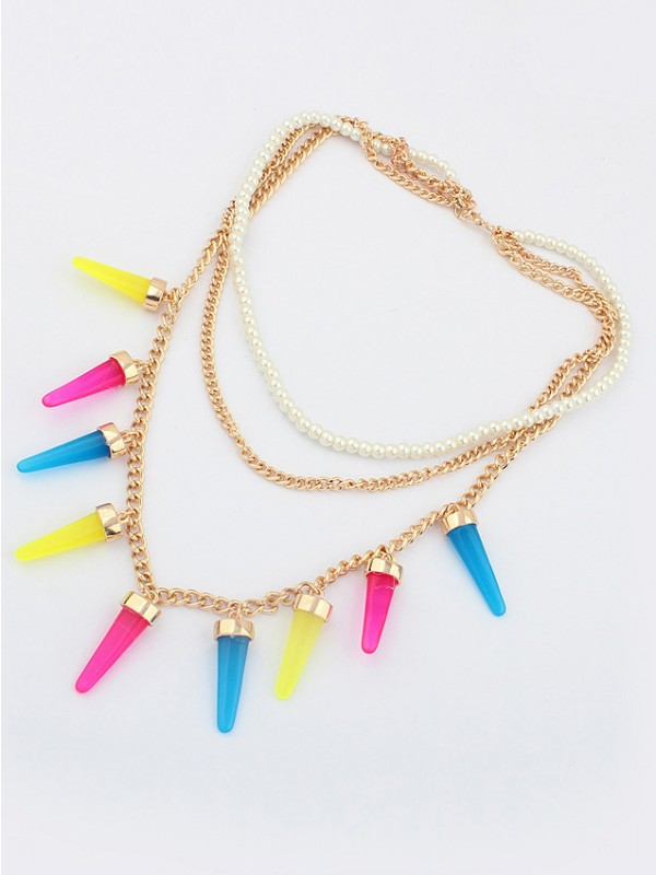 Occident Hyperbolic Candy colors Multi-layered Conical Fashion Necklace