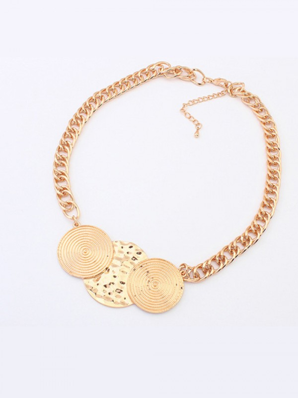 Occident Trendy Punk Stylish Round Plate Fashion Necklace