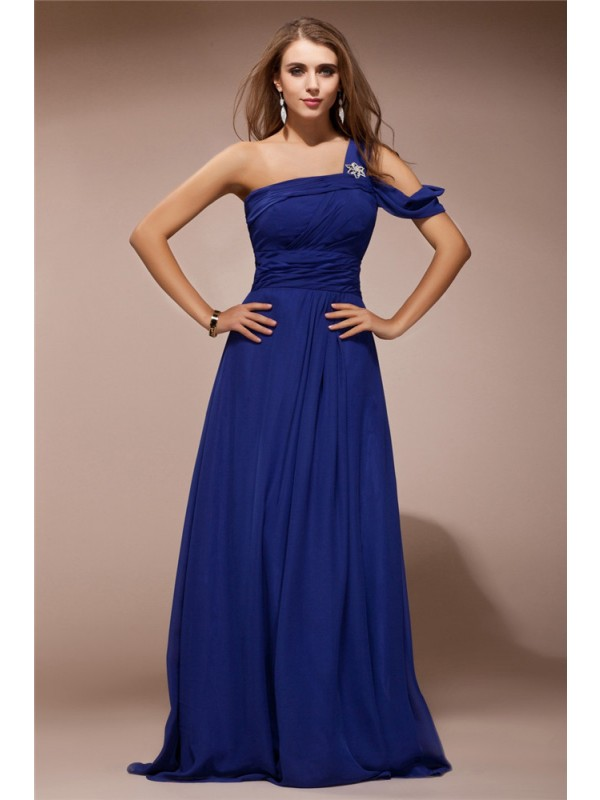 Chiffon One-Shoulder Floor-Length Royal Blue Prom Dresses