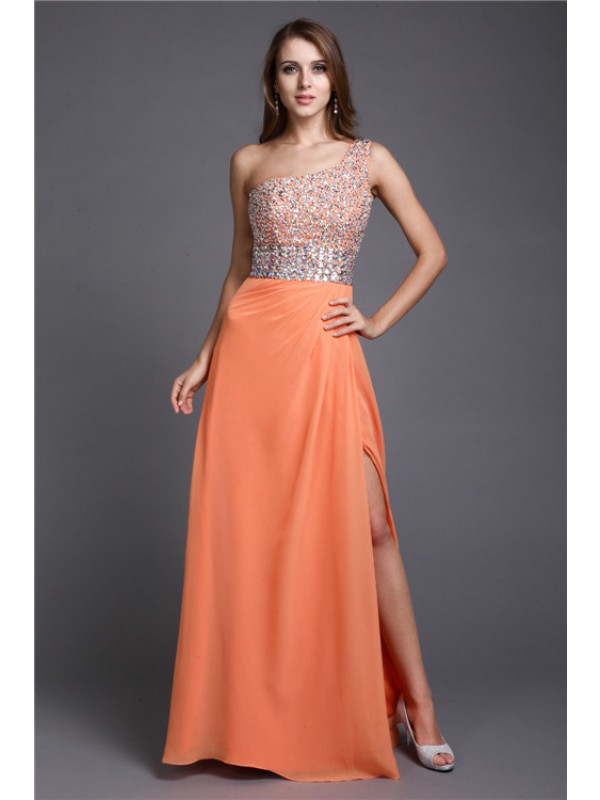 Sheath One-Shoulder Floor-Length Orange Prom Dresses