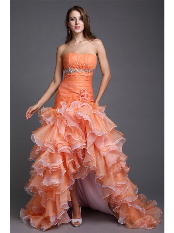 Ball Gown Organza Strapless Asymmetrical Orange Prom Dresses
