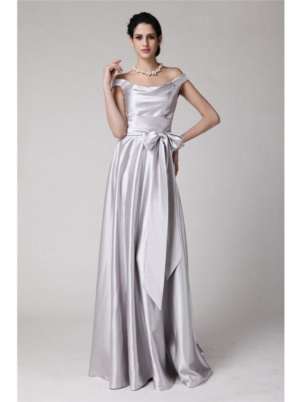 Sheath Off-the-Shoulder Floor-Length Silver Prom Dresses with Sash/Ribbon/Belt