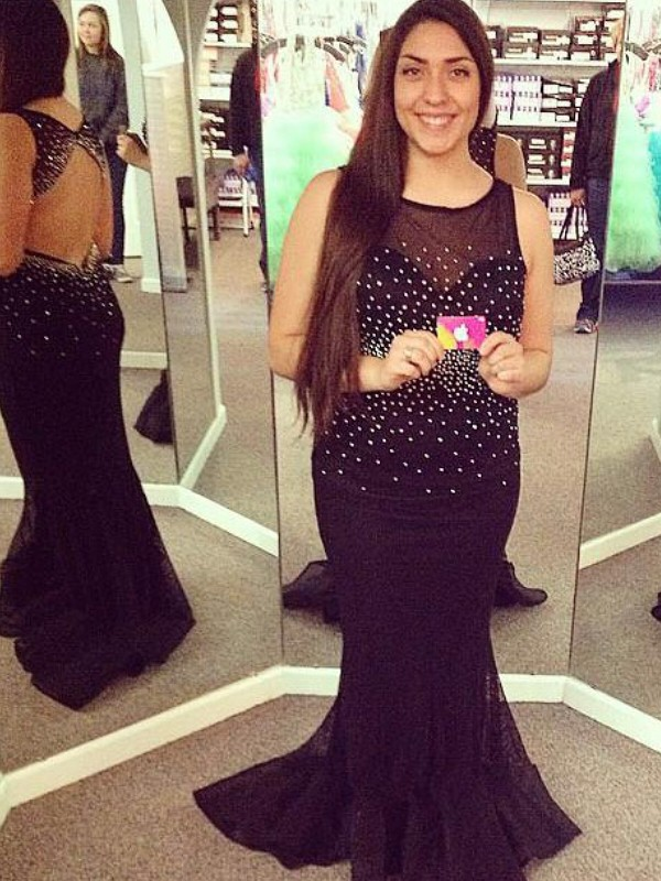 Mermaid Sheer Neck Brush Train Black Prom Dresses with Beading