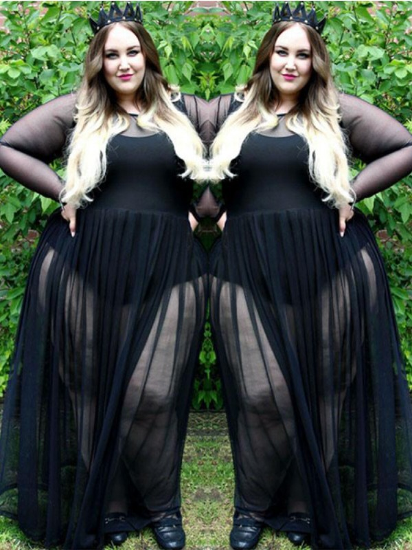 Long Sleeves Sheer Neck Floor-Length Black Prom Dresses with Ruched