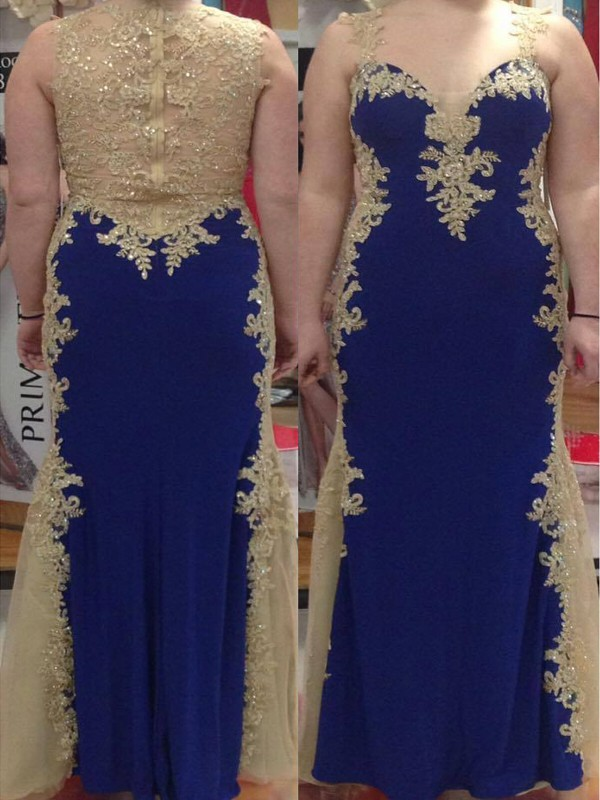 Floor-Length Royal Blue Straps Prom Dresses with Applique